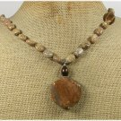 Handmade BROWN AGATE & PICTURE JASPER& TIGER EYE NECKLACE