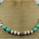 Handmade WHITE JADE & BLUE JADE NECKLACE