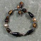 Handmade BLACK AGATE TIGER EYE FRESH WATER PEARLS BRACELET