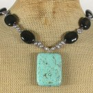 Handmade TURQUOISE BLACK AGATE FRESH WATER PEARLS NECKLACE