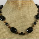 Handmade BLACK AGATE & TIGER EYE NECKLACE