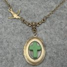 Handmade OVAL LOCKET GREEN TURQUOISE CROSS SWALLOW BIRD NECKLACE