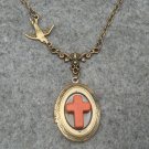 Handmade OVAL LOCKET ORANGE TURQUOISE CROSS SWALLOW BIRD NECKLACE