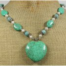 Handmade TURQUOISE AMAZONITE FRESH WATER PEARLS NECKLACE