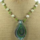 Handmade MURANO GLASS & SERPENTINE JADE & PERIDOT NECKLACE
