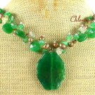 Handmade GREEN AGATE & JADE & QUARTZ & PEARL NECKLACE