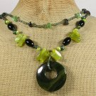 Handmade OLIVE FIRE AGATE QUARTZ JADE CRYSTAL PEARLS 2ROW NECKLACE