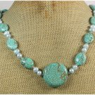 Handmade TURQUOISE & FRESH WATER PEARLS NECKLACE