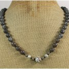 Handmade BLACK LABORADITE COFFEE FLOWER JASPER WHITE TURQUOISE PEARLS NECKLACE