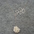 Handmade FRESH WATER PEARLS BALL & LEAF BRANCH NECKLACE