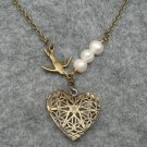 Handmade FILLIGREE HEART PENDANT BIRD FRESH WATER PEARLS NECKLACE