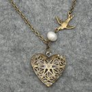 Handmade FILLIGREE HEART PENDANT BIRD FRESH WATER PEARL NECKLACE
