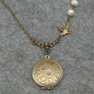 Handmade FLOWER PENDANT & BIRD & FRESH WATER PEARLS NECKLACE