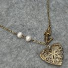 Handmade FILLIGREE HEART LOCKET PENDANT & MERMAID & FRESH WATER PEARLS NECKLACE