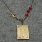 Handmade CROSS BOOK LOCKET PENDANT & BIRD & RED CRYSTAL NECKLACE
