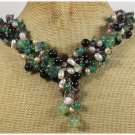 Handmade GREEN AGATE FANCY JASPER CRYSTAL FRESH WATER PEARLS NECKLACE