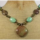 Handmade IMPERIAL JASPER TURQUOISE FRESH WATER PEARLS NECKLACE