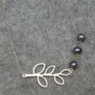 Handmade FIVE LEAF BRANCH & FRESH WATER BLACK PEARLS NECKLACE