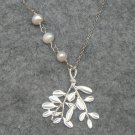 Handmade LEAF BRANCH & FRESH WATER WHITE PEARLS NECKLACE