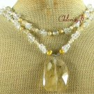Handmade SNOWFAKE QUARTZ & CRYSTAL & FW PEARL 2ROW NECKLACE