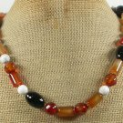 Handmade RED BLACK AGATE & WHITE TURQUOISE NECKLACE