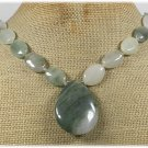 Handmade NATURAL GREEN RUTILATED JASPER NECKLACE