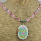 Handmade POTTERY SHARD PINK CRYSTAL TURQUOISE JADE NECKLACE