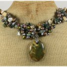 Handmade RHYOLITE FANCY JASPER CRAZY AGATE PEARLS NECKLACE