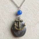 Handmade OVAL LOCKET & ANCHOR CHARM & BLUE JADE NECKLACE
