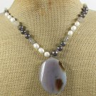 Handmade GREY AGATE & FRESH WATER PEARLS NECKLACE