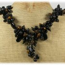 Handmade BLACK AGATE TIGER EYE LABORADITE FW PEARLS NECKLACE