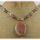 Handmade FIRE AGATE QUARTZ FW PEARLS NECKLACE