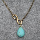 Handmade INFINITY CHARM & TURQUOISE DROP NECKLACE