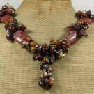 Handmade BROWN SESAME JASPER PICTURE JASPER BROWN JADE NECKLACE