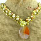 Handmade AGATE YELLOW CRYSTAL FW PEARL NECKLACE