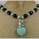 Handmade TURQUOISE BLACK AGATE FW PEARLS NECKLACE