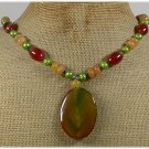 Handmade BRAZILIAN AGATE HONEY JADE FRESH WATER PEARLS NECKLACE