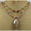 Handmade AUTUMN JASPER CRYSTAL FW PEARLS NECKLACE