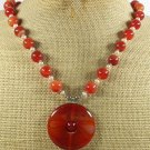 Handmade RED AGATE & FRESH WATER PEARLS NECKLACE