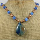 Handmade BLUE BRAZILIAN AGATE CAT EYE FRESH WATER PEARL NECKLACE