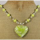 Handmade MURANO GLASS LEMON JADE FRESH WATER PEARLS NECKLACE