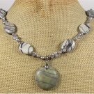 Handmade BLACK LINE JASPER & FRESH WATER PEARLS NECKLACE