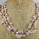 Handmade ROSE QUARTZ & FRESH WATER PEARLS 3ROW NECKLACE