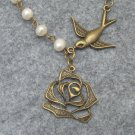 Handmade ROSE & BIRD & FRESH WATER PEARLS NECKLACE
