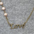 Handmade LOVE CHARM & FRESH WATER PEARLS NECKLACE
