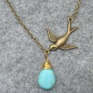 Handmade TURQUOISE DROP & BIRD NECKLACE
