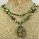 Handmade UNAKITE & FRESH WATER PEARLS NECKLACE