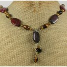 Handmade BACCIATED JASPER TIGER EYE FW PEARLS NECKLACE