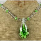 Handmade FLOWER LAMPWORK CLEAR CRYSTAL GREEN QUARTZ NECKLACE