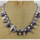 Handmade SODALITE BLUE AGATE FRESH WATER PEARLS NECKLACE